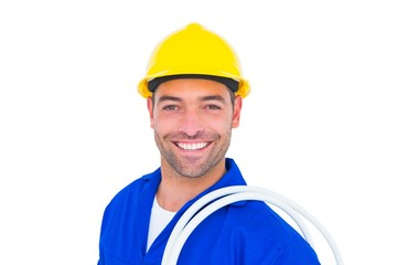 Electrician carrying wires over white background