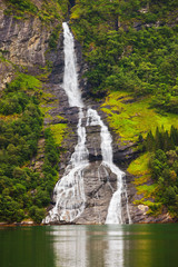 Waterfall in Geiranger fjord - Norway