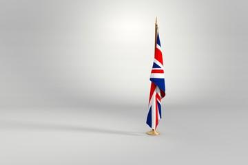 United Kingdom flag 3D illustration on a wooden mast