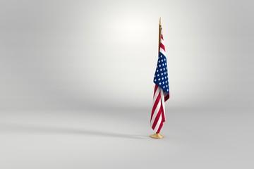 United States flag 3D illustration on a wooden mast