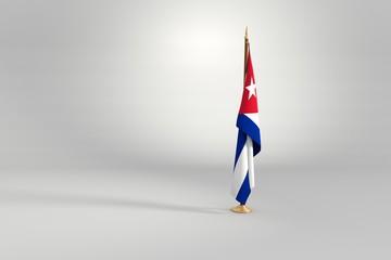Cuba flag 3D illustration on a wooden mast