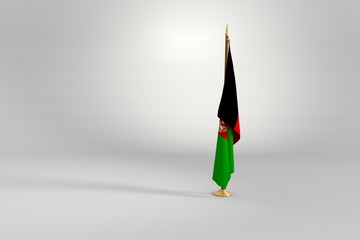 Afghanistan flag 3D illustration on a wooden mast