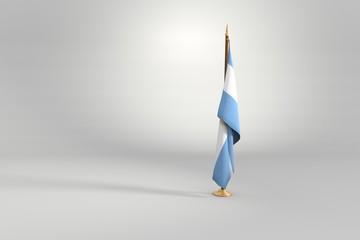 Argentina flag 3D illustration on a wooden mast