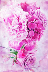 Pink flowers, grunge paper background.