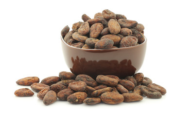Dried cocoa beans in a brown bowl on a white background