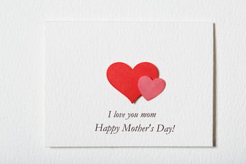 Happy Mothers Day white message card with hearts