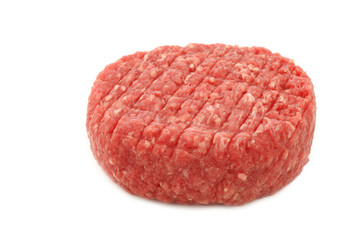 fresh raw minced meat for making hamburgers on a white backgroun