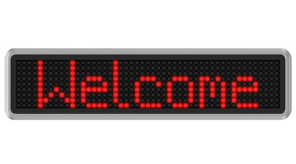 Led dot display with welcome text message
