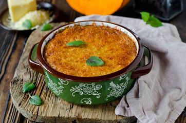 Gratin of rice, quinoa, pumpkin and cheese