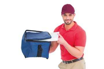 Pizza delivery man holding bag