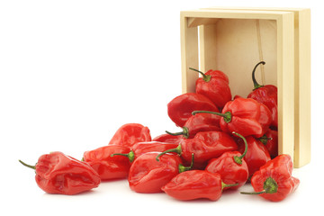 spicy hot red adjuma peppers in a wooden box on a white backgrou