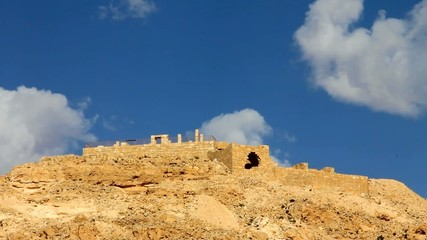 Mountain  Avdat with  ancient ruins of old town of Avdat
