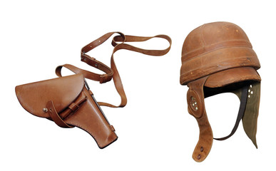 leather helmet with leather holster for the pistol