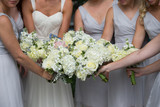bridesmaid bride white wedding flower blue dress