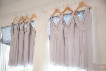wedding dress gown hang bride bridesmaid