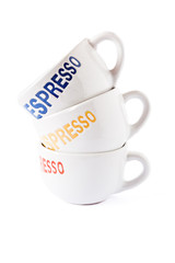 Close up of coffee cups on a white background