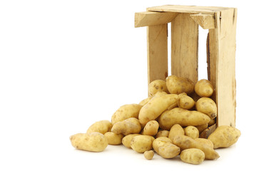 "original french ""ratte""potatoes (Solanum tuberosum) in a wooden"
