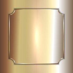 Vector precious metal golden plate on smooth background