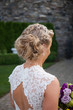up do bun blonde curly wedding bride - 78791796