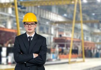 builder with yellow helmet