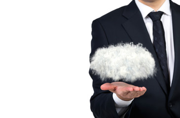 businessman holding cloud