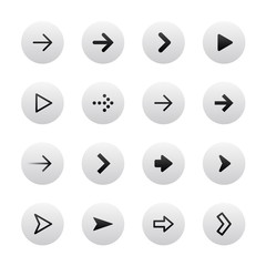 Arrow sign icon set. Gray, stylish, clean and modern