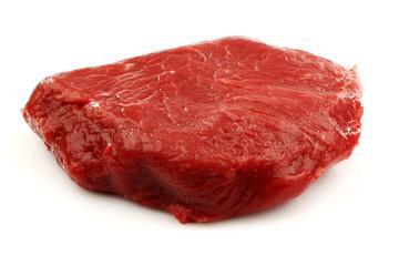 fresh red beefsteak on a white background