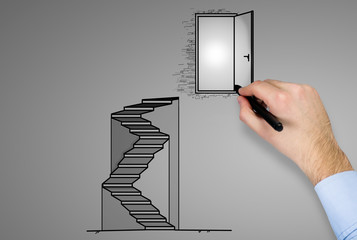 hand drawing door