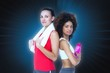 Composite image of fit women standing with waterbottle and towel
