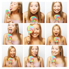 woman making diferent expressions.