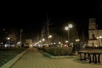 Central Square at night. Pomorie, Bulgaria.