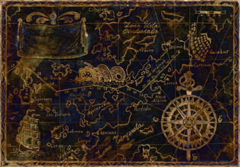 Blue and gold pirate map