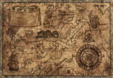Fototapety Pirate map with desaturated effect and old paper texture