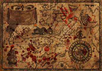Pirate map with bloody drops