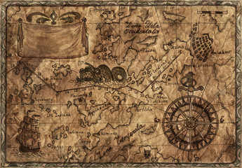 Pirate map with desaturated effect and old paper texture