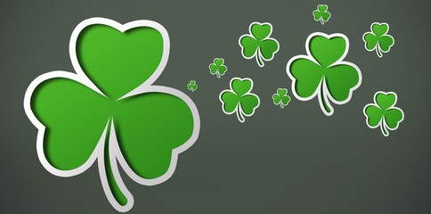 Shamrocks on grey backround