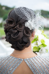 curly up do bun bride veil blusher wedding
