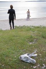 just married lake shoe couple bride groom