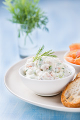 Soft cheese spread with salmon and green onion