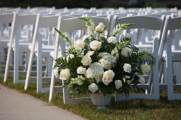 wedding aisle ground flower white chair