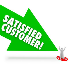 Satisfied Customer Arrow Pointing Happy Client Satisfaction