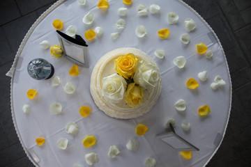 aerial wedding cake yellow white simple