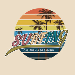 California surf typography, t-shirt graphics , vector format eps