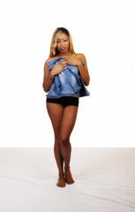 African American Woman Standing Black Panties Blue Vest