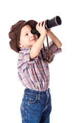 Boy looking to spyglass