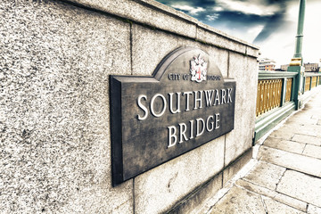 Southwark Bridge sign