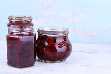 Homemade jars of fruits jam