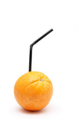 Orange fruit with straw