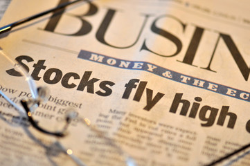 Business section - stocks fly high