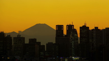 M't fuji and shinjuku buildings after sunset